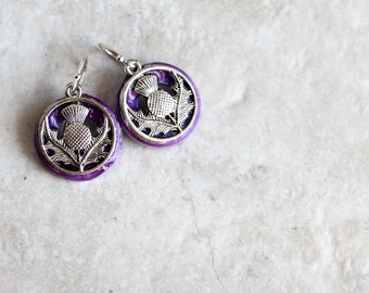 violet Scottish thistle earrings, flower dangle earrings, Scottish jewelry, unique gift, gift for her, nature jewelry