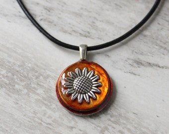 sunflower cord necklace
