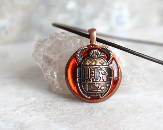 orange scarab beetle necklace, dung beetle, scarab beetle jewelry, ancient Egypt, Egyptian symbol, Egyptian jewelry, unique gift
