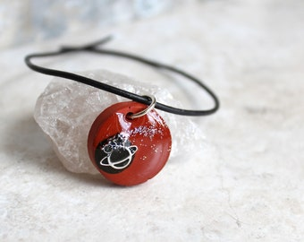 brick red planet necklace, outer space pendant, galaxy necklace, celestial jewelry, Saturn jewelry, unique gift, mens gift