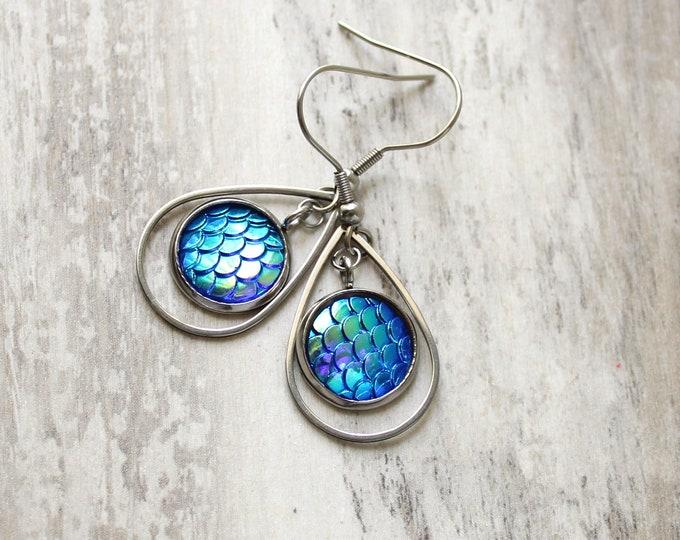 blue mermaid scale earrings on stainless steel ear wires