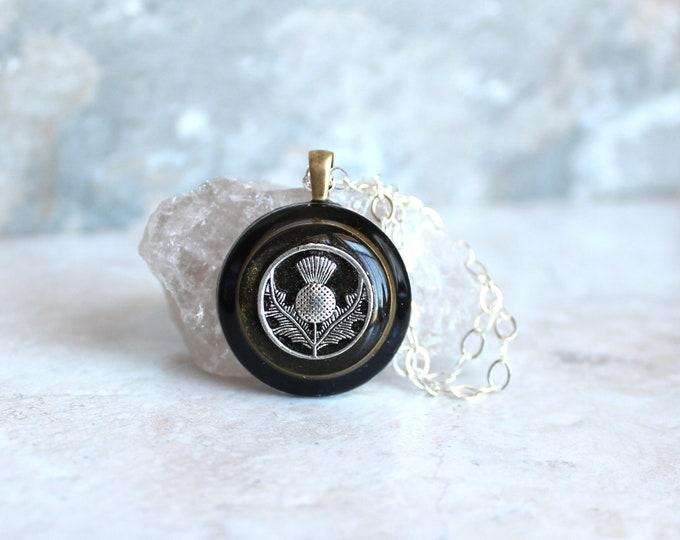 black gold Scottish thistle necklace, floral jewelry, nature necklace, unique gift, Scottish jewelry, gift for her, Scottish wedding