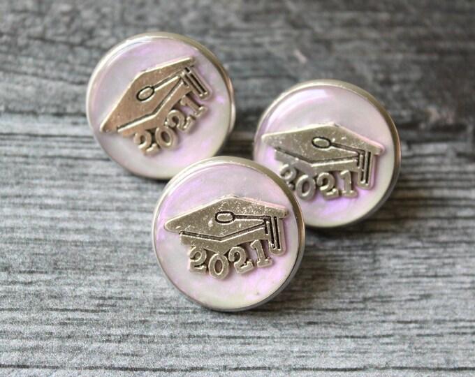 2021 graduation pin, pink opal, unique gift, lapel pin, tie tack, academic cap, graduate cap, mortarboard, trencher