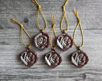 rose ornaments, set of 5, table top tree ornaments, spring tree decorations, miniature tree, flower ornaments, coffee