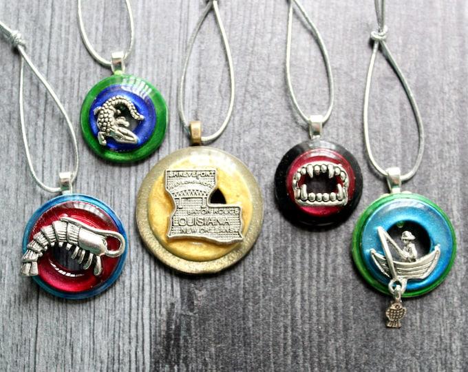 Louisiana ornaments, set of 5, table top tree ornaments, miniature tree, vampire ornament, fishing ornament, shrimp ornament