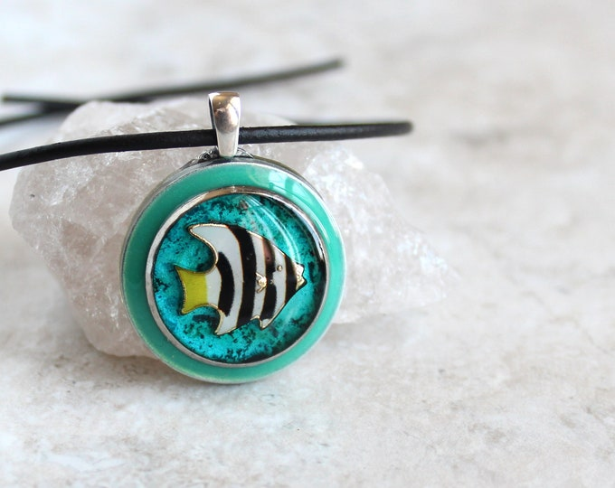 angelfish necklace, fish jewelry, tropical fish, nature necklace, aloha jewelry, unique gift, ocean lover, surfer necklace, beach fashion