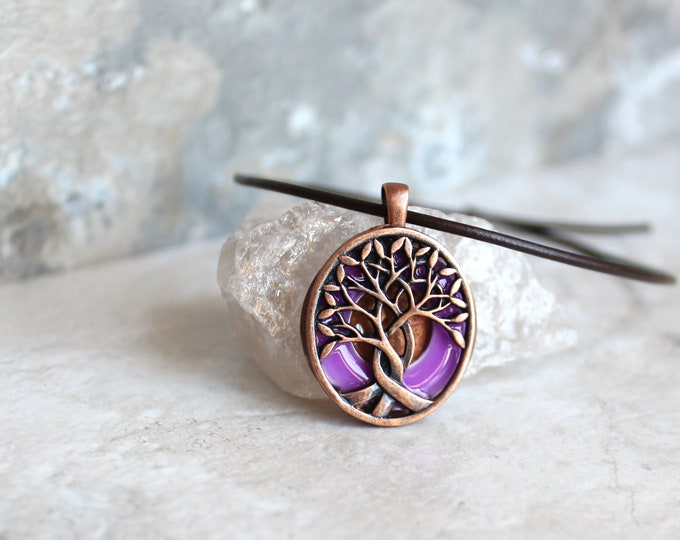 purple tree necklace, tree of life, glow in the dark, unique gift, gift for him, nature necklace, druid pendant, wiccan jewelry