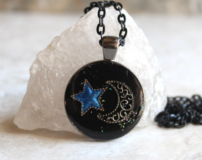 star and moon necklace, crescent moon, blue star, celestial jewelry, star necklace, unique gift, cord necklace, outer space jewelry
