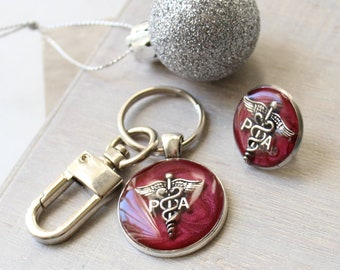 Physician assistant pin gift set, red wine, PA pinning ceremony, PA keychain, PA pin
