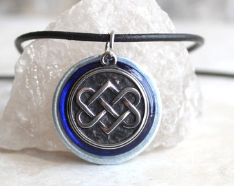 royal blue Celtic knot necklace, mens necklace, mens jewelry, druid necklace, unique gift, Celtic jewelry, Irish necklace, boyfriend gift