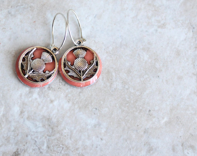 coral Scottish thistle hoop earrings, Scottish jewelry, unique gift, hoop with charm, floral jewelry, nature jewelry