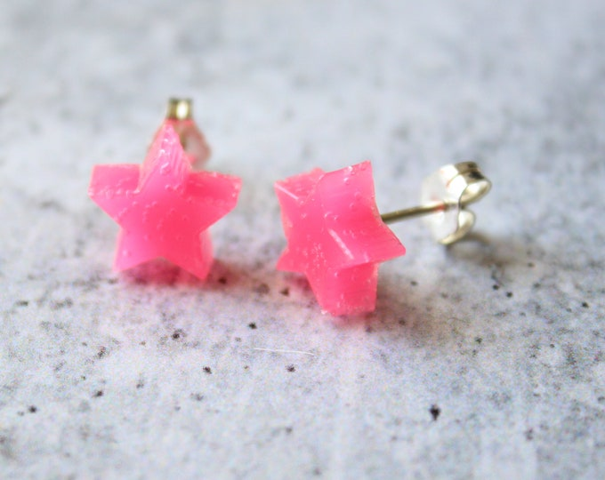 pink star earrings with sterling silver posts, unique gift, celestial jewelry