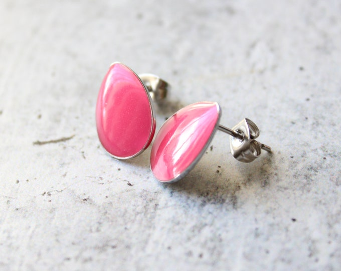 pink teardrop earrings with stainless steel posts, minimalist jewelry, unique gift
