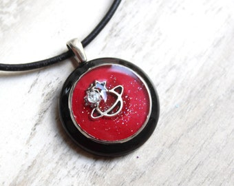 red planet necklace, outer space pendant