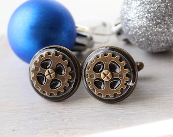 steampunk cufflinks, mens jewelry, gear jewelry