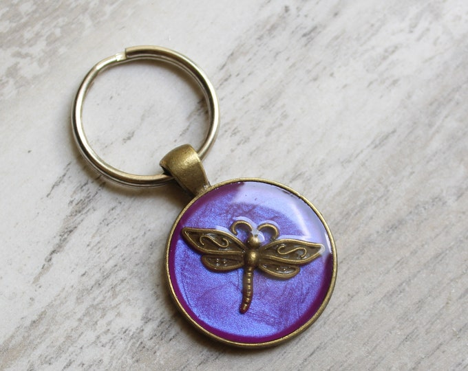 purple dragonfly keychain, insect keyring