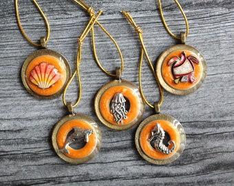 ocean themed tree ornaments, set of 5, miniature tree, summer ornaments, beach decor, nautical decor, beach house