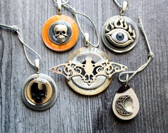 Halloween tree ornaments, set of 5, miniature tree, evil eye, crescent moon, skull ornament, bat ornament