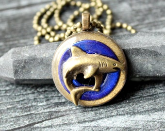 great white shark necklace, royal blue, mens jewelry, boyfriend gift, nature necklace, shark pendant, mens necklace