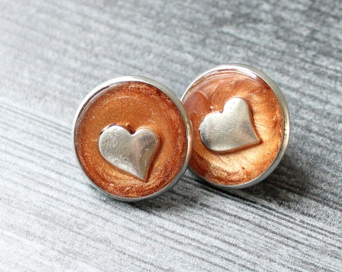 heart pin, lapel pin, tie tack, bronze, romantic gift