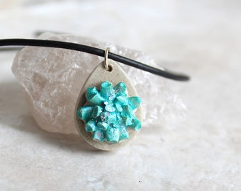 sea coral necklace, ocean jewelry, concrete jewelry, unique gift, teardrop necklace, nature necklace, under the sea