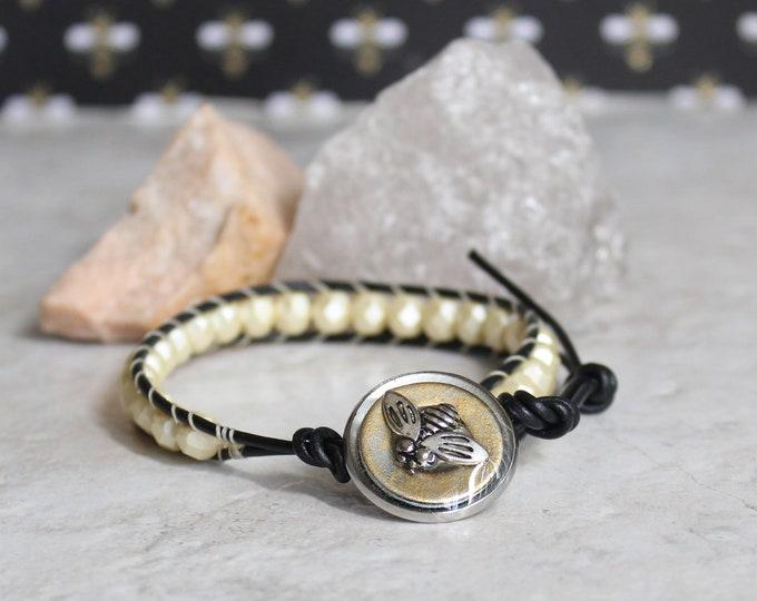 cream honeybee bracelet, bee bracelet, matte honey Czech glass bead bracelet, leather cord bracelet, bee jewelry