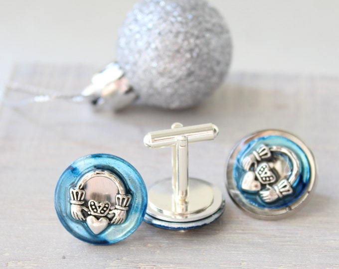Claddagh cufflinks and lapel pin gift set, sky blue, mens jewelry
