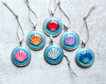sea shell tree ornaments, set of 6, ocean themed table top tree, miniature tree, summer ornaments