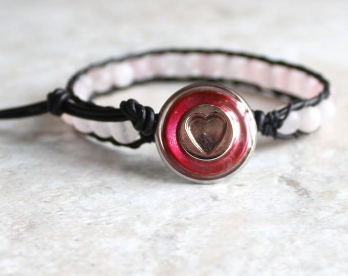 pink heart bracelet, rose quartz beaded bracelet, best friend jewelry, leather cord bracelet, unique gift, valentine bracelet