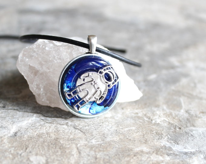 blue astronaut necklace, outer space jewelry, explorer necklace, unique gift, boyfriend gift, mens necklace, mens jewelry, ready to ship