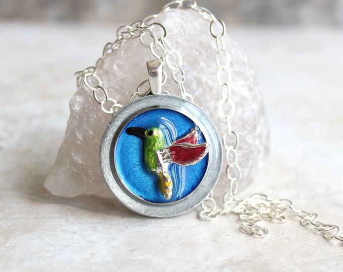 blue hummingbird necklace, hummingbird jewelry, nature necklace, unique gift, bird pendant, gift for her