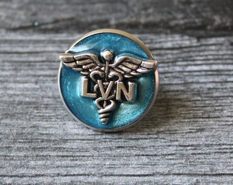 licensed vocational nurse pin, LVN lapel pin, pinning ceremony, white coat ceremony, blue, LVN gift