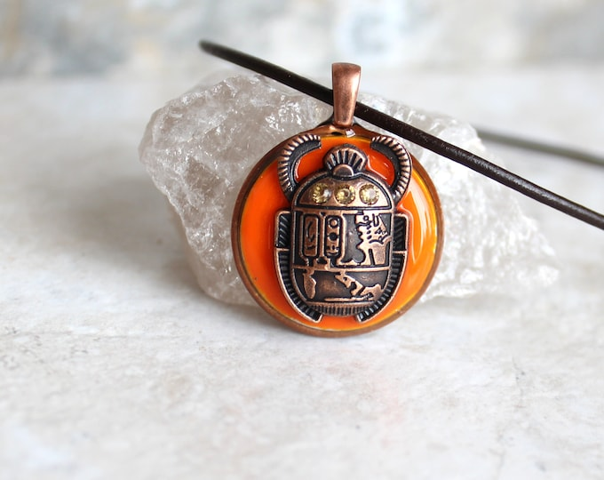 orange scarab beetle necklace, glow in the dark, dung beetle, ancient Egypt, Egyptian symbol, Egyptian jewelry, unique gift