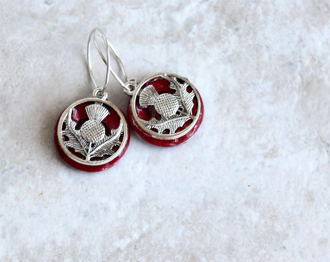 rose Scottish thistle hoop earrings, Scottish jewelry, unique gift, hoop with charm, floral jewelry, nature jewelry