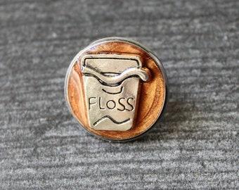 dental floss pin, dentist lapel pin, dental assistant, unique gift, tie tack, bronze