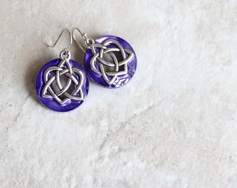 purple Celtic sister knot earrings, Celtic jewelry, sister gift, friendship jewelry, unique gift, valentine earrings