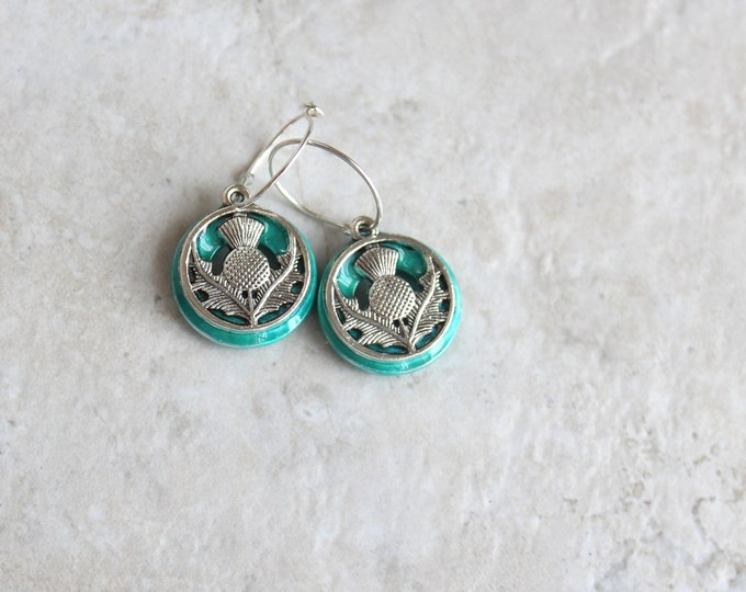 aqua Scottish thistle hoop earrings, Scottish jewelry, unique gift, hoop with charm, floral jewelry, nature jewelry