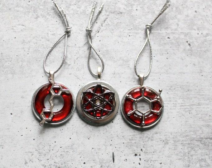 science themed ornament set, set of 3, caffeine molecule ornament, red wine molecule, atom molecule