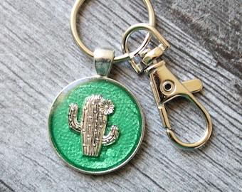 cactus keychain, saguaro cactus keyring, cute gift, succulent keychain
