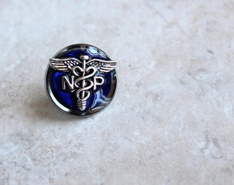royal blue nurse practitioner pin, np pinning ceremony, nurse graduation gift, white coat ceremony, nurse appreciation, nurse birthday gift
