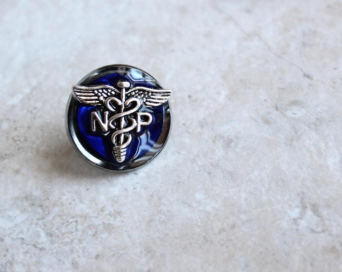 royal blue nurse practitioner pin, np pinning ceremony, nurse graduation gift, white coat ceremony, nurse appreciation, nurse birthday gift