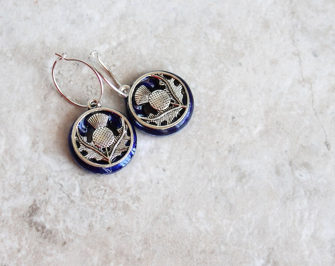 royal blue Scottish thistle hoop earrings, Scottish jewelry, unique gift, hoop with charm, floral jewelry, nature jewelry