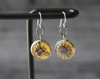 bee and sunflower earrings with sterling silver ear wires, unique gift, honeybee jewelry