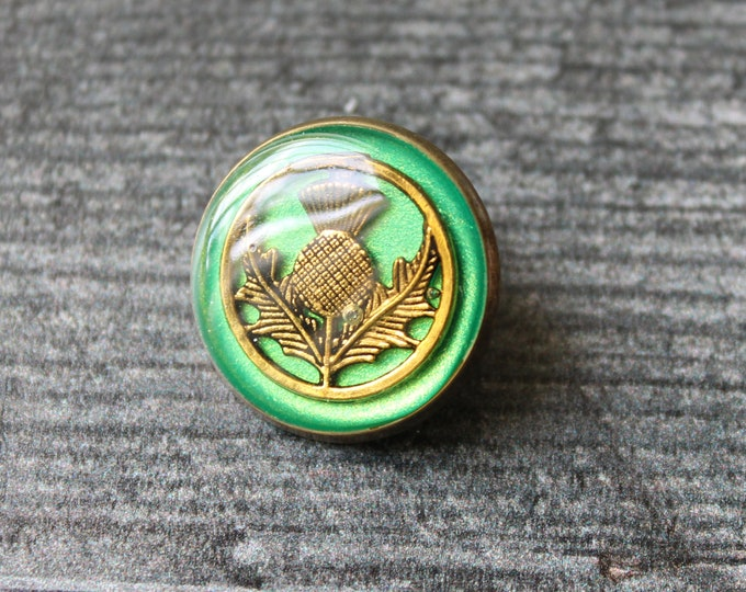 green and gold Scottish thistle tie tack, lapel pin, mens jewelry, Scottish jewelry, floral pin, brass back, unique gift