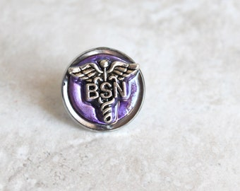 purple Bachelor of Science nursing pin, BSN pinning ceremony, nurse graduation gift, white coat ceremony