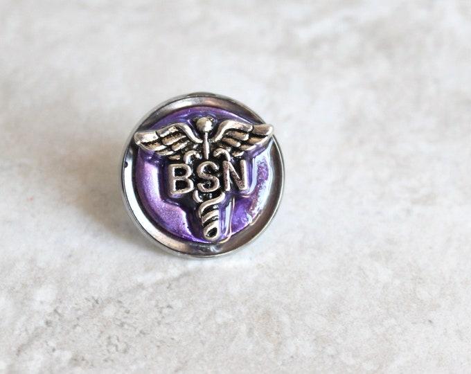 purple Bachelor of Science nursing pin, BSN pinning ceremony, nurse graduation gift, white coat ceremony