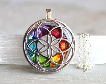 rainbow seed of life necklace