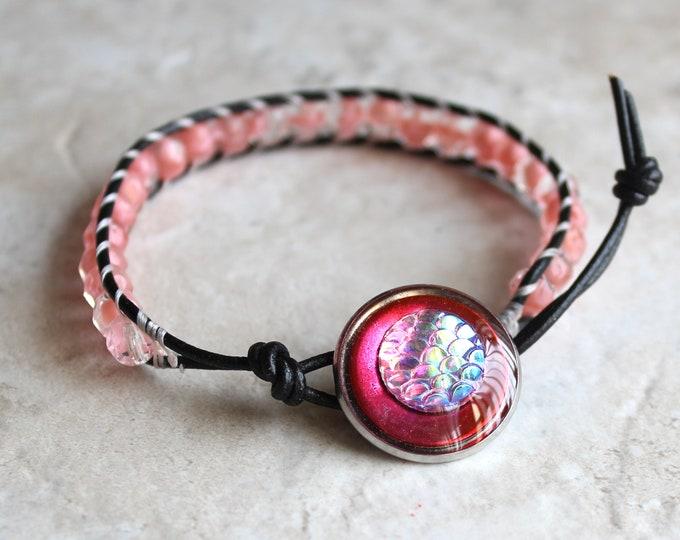 pink scale bracelet, leather cord bracelet, beaded bracelet, mermaid scale, dragon scale, fish scale, unique gift, stocking stuffer