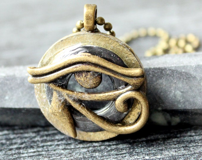 Eye of Horus necklace, eye of Ra jewelry, Egyptian pendant, mens jewelry, boyfriend gift, mens necklace, unique gift, charcoal gray