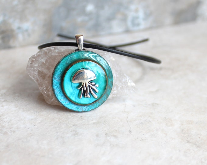 Aqua jellyfish pendant necklace